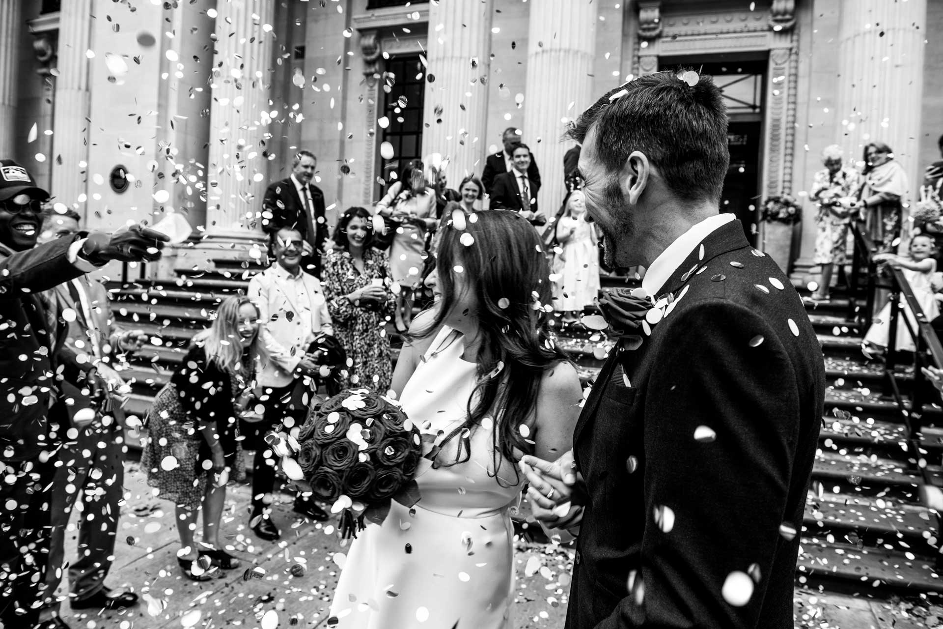 Confetti thrown over newlyweds