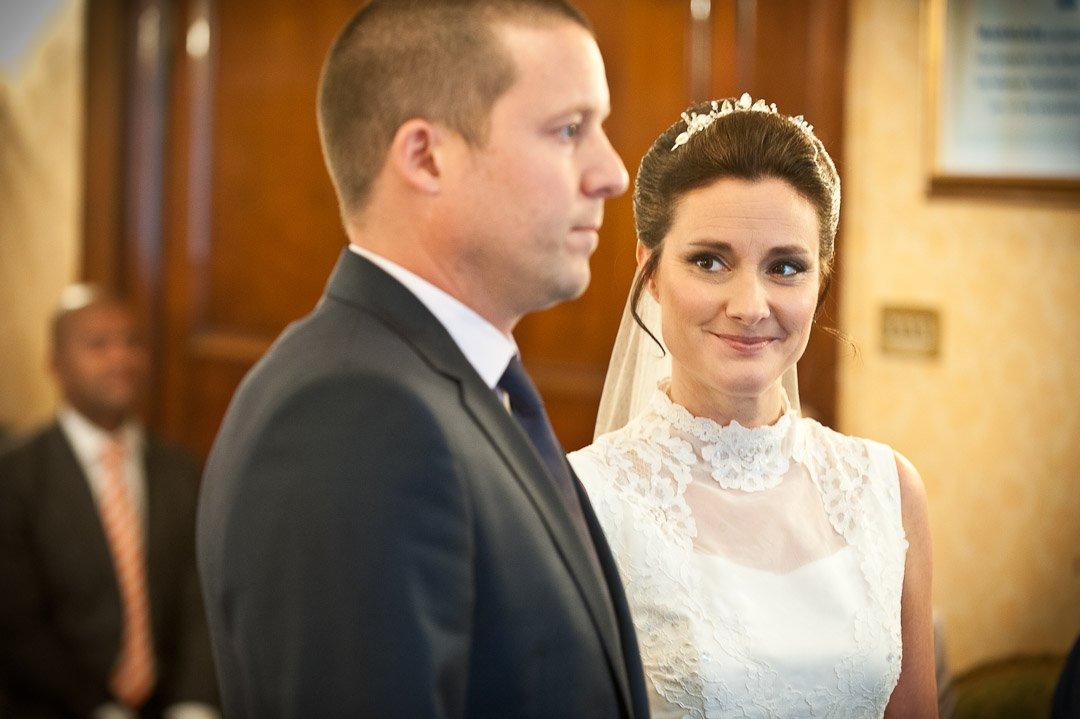 bride looks at her groom